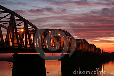 Red sunset over the bridge