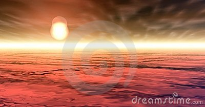 Red sunset over cloudscape