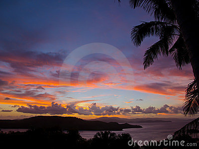 Red Sunset over the Whitsunday Islands, Australia
