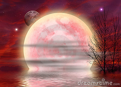 Red surreal Moon background