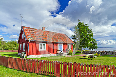 Red Swedish cottage house