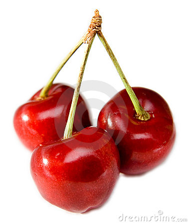 Red sweet cherries isolated
