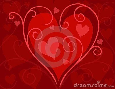 Red Swirling Valentine s Day Heart Card