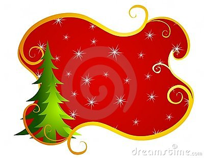 Red Swirls Christmas Tree Background