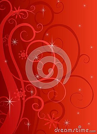 Red Swirls Sparkles Background