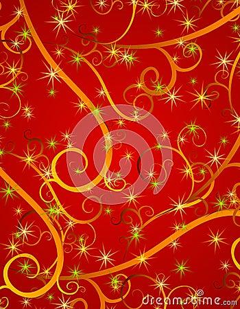 Free Red Swirls Stars Christmas Background Stock Photo - 3751820