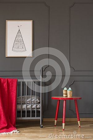 Free Red Table Next To Cradle With Blanket In Kid`s Bedroom Interior Stock Photography - 126408682