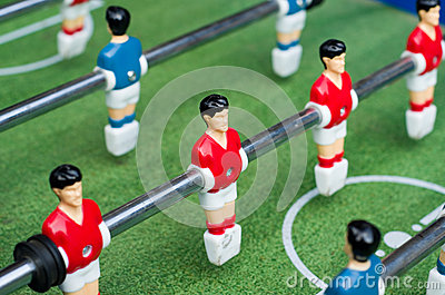 Red table soccer players