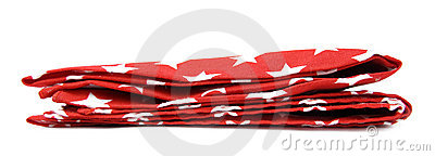 Red tablecloth with white stars