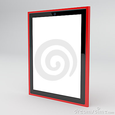 Red tablet with empty screen