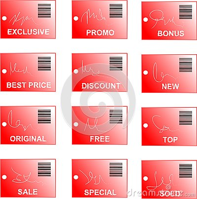 Red tag and sticker set with bar codes and abstrac