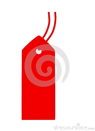 Red tag with stitch.