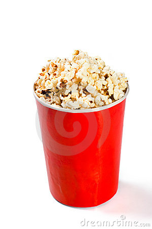 Red tall bowl with popcorn