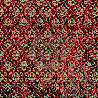 Red Tan Damask Print