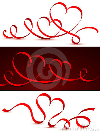 Free Red Tape In The Form Of Hearts. Royalty Free Stock Image - 22832096