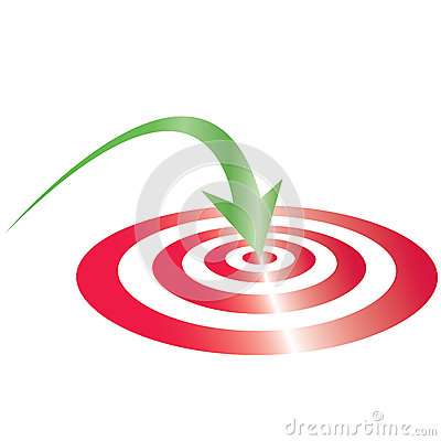red target with green arrow