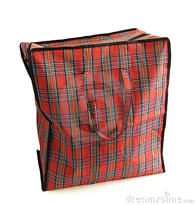 Red tartan bag