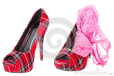Red tartan high heeled stiletto shoes with a pink