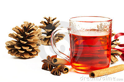 Red tea cinnamon conifer cone and anise