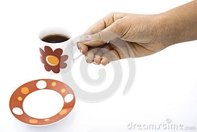 Red tea cup hold in hands
