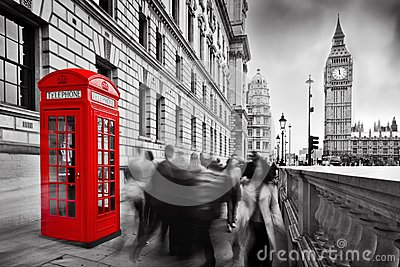 Red telephone booth and Big Ben. London, UK