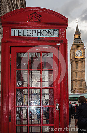 Red Telephone Booth and Big Ben Editorial Stock Image