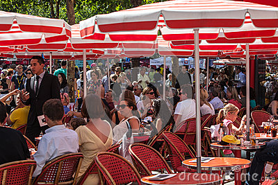 Red Terrace on Avenue des Champs Elysees Editorial Stock Photo