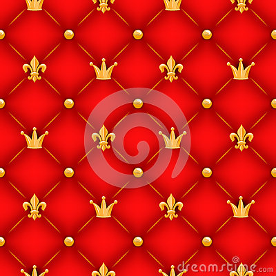 Free Red Texture With Crowns, Lilies And Buttons. Royalty Free Stock Image - 45839596