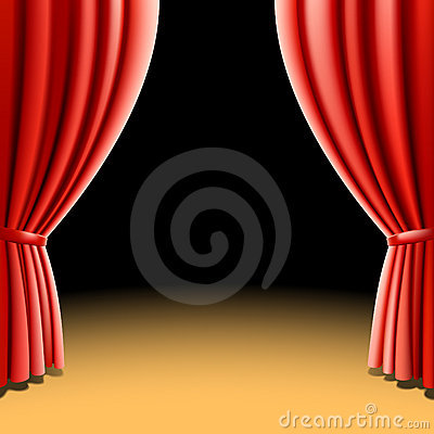 Red theater curtain on black background