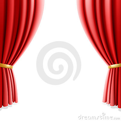 Red theater curtain on white background