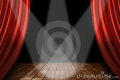 Red Theater Stage Background With 3 Spotlights Cen