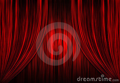 Red theatre / theater curtains