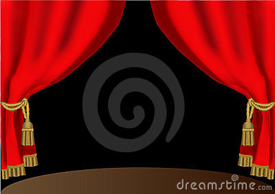 Red theatrical curtain with cyst