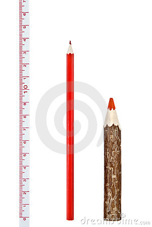 Red thick and thin pencils with ruler