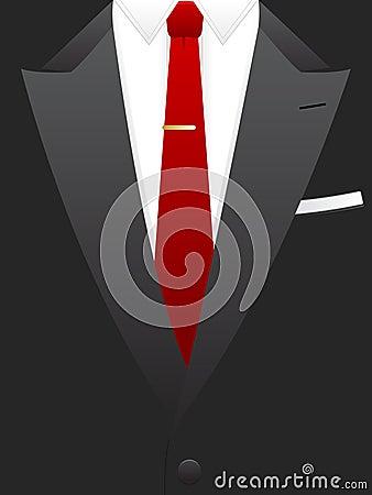 Red Tie Tuxedo EPS