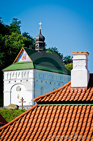 Red tile roof and church