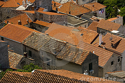 Red tile roofs in the old part of the town