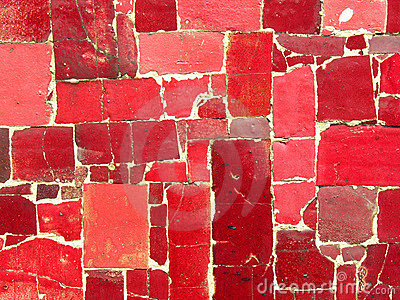 Red tiles mosaic -  random pattern