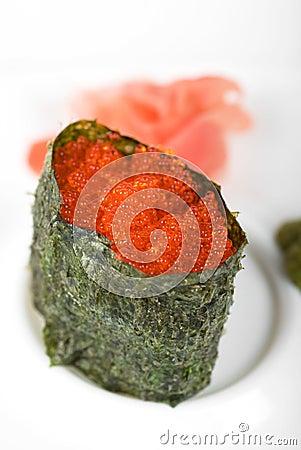 Red tobiko sushi
