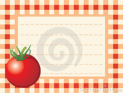 Red tomato on chequered background