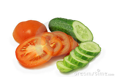 Red tomato and  green cucumber chopped circles