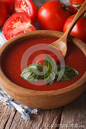 Free Red Tomato Sauce With Basil In A Wooden Bowl Closeup. Vertical Stock Photography - 59335962