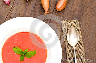 Red tomato soup with basil