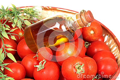 Red tomatoes and olive oil