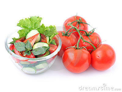 Red Tomatoes And Salad Stock Image - Image: 10071381