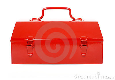 Red toolbox isolated