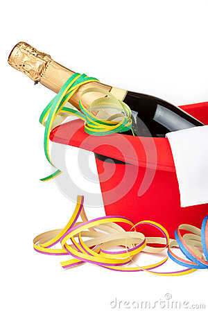 Red top hat with champagne and streamers