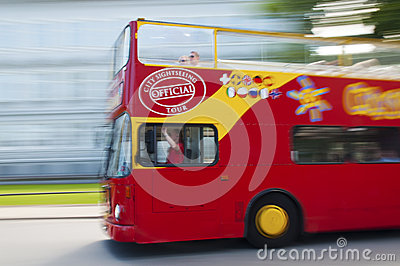 Red tour bus Editorial Stock Photo