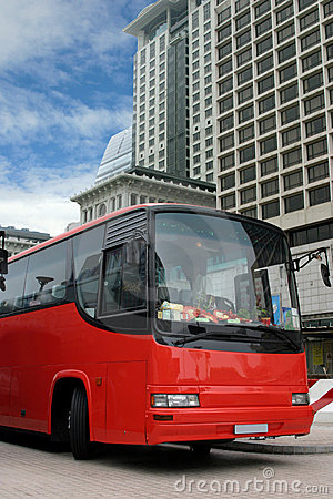 Red tourist bus (clipping path