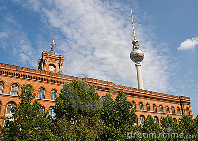 The Red Town Hall and television tower - Berlin